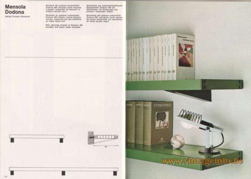 Artemide Catalogue 1976 - Mensola Dodona, design Ernesto Gismondi. Wall shelving formed of Dodona 300 uprights and black metal brackets.