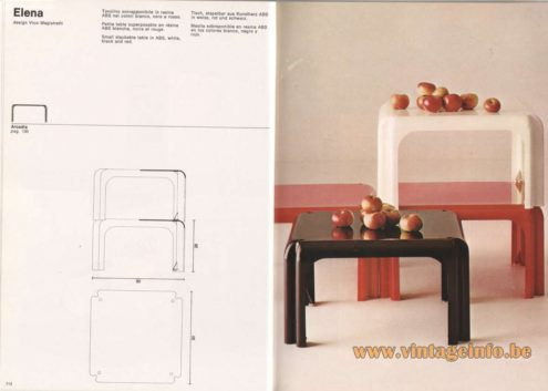 Artemide Catalogue 1976 - Elena, design Vico Magistretti. Small stackable table in ABS, white, black and red.