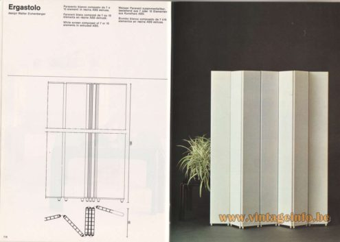 Artemide Catalogue 1976 - Ergastolo, design Walter Eichenberger. White screen composed of 7 or 10 elements in extruded ABS.