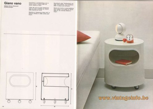 Artemide Catalogue 1976 - Giano vano, design Emma Gismondi Schweinberger. Bedside or telephone table with or without wheels in ABS, white and black.