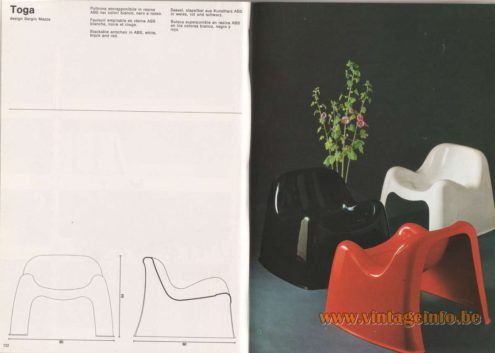 Artemide Catalogue 1976 - Toga, design Sergio Mazza Stackable armchair in ABS, white, black and red.