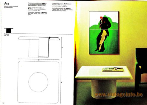 Artemide Catalogue 1976 - Ara, design Emma Gismondi Schweinberger Detachable low table in Reglar® and ABS, white, dark brown and green.