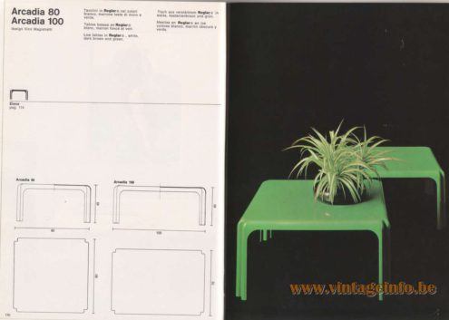 Artemide Catalogue 1976 - Arcadia 80, Arcadia 100, design Vico Magistretti Low tables in Reglar® white, dark brown and green.
