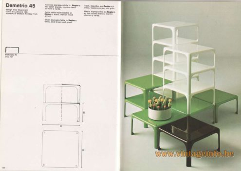 Artemide Catalogue 1976 - Demetrio 45, design Vico Magistretti – 2 BIO di Ljubljana 1966 – Museum of Modern Art New York – MOMA Small stackable table In Reglar® white, dark brown and green.