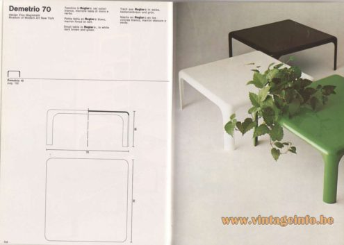 Artemide Catalogue 1976 - Demetrio 70, design Vice Magistretti – Museum of Modern Art New York Small table in Reglar®, in white dark brown and green.