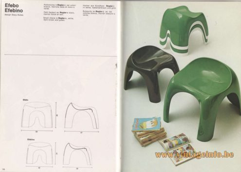 Artemide Catalogue 1976 - Efebo, Efebino, design Stacy Dukes Small chairs in Reglar®, white, dark brown and green.