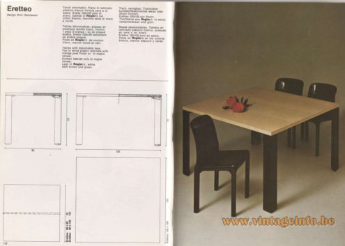 Artemide Catalogue 1976 - Eretteo, design Örni Halloween. Tables with detachable legs. Top in white plastic laminate with orange peel finish or in maple veneer. Eretteo 120×120 only in maple veneer. Legs in Reglar®, white, dark brown and green.
