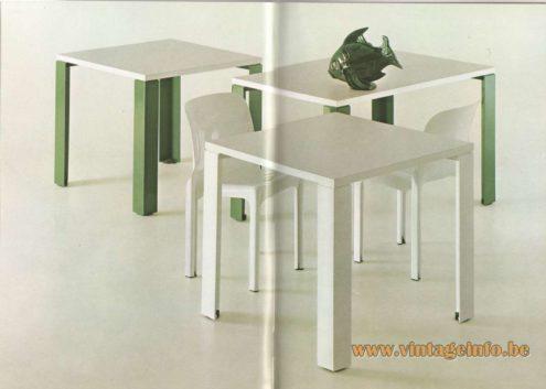 Artemide Catalogue 1976 - Eretteo tables, design Örni Halloween - green, white