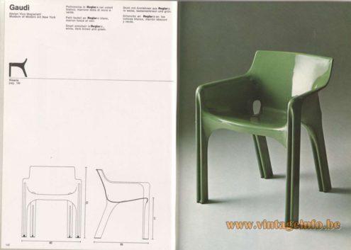Artemide Catalogue 1976 - Gaudi, design Vico Magistretti - Museum of Modern Art New York. Small armchair in Reglar®, white, dark brown and green.