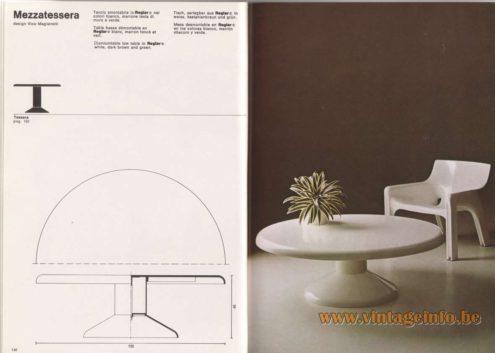 Artemide Catalogue 1976 - Mezzatessera, design Vico Magistretti. Dismountable low table in Reglar® white, dark brown and green.