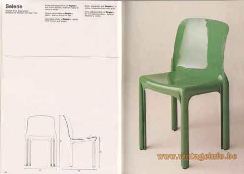 Artemide Catalogue 1976 - Selene, design Vico Magistretti – Museum of Modern Art New York Stackable chair In Reglar® , white, dark brown and green.