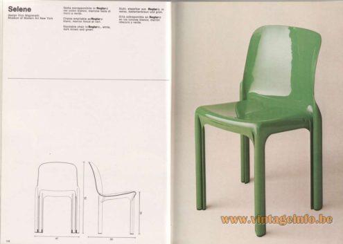 Artemide Catalogue 1976 - Selene, design Vico Magistretti – Museum of Modern Art New York Stackable chair In Reglar® , white, dark brown and green.