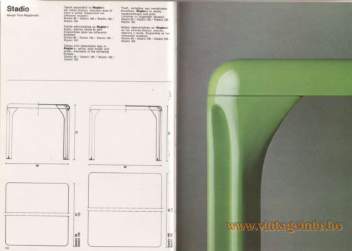 Artemide Catalogue 1976 - Stadio, design Vico Magistretti Tables with detachable legs in Heglar®, white, dark brown and green. Available in the following models: Stadio 80 / Stadio 100 / Stadio 120 / Stadio 150.