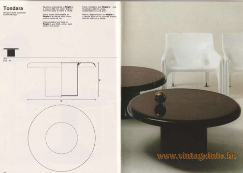 Artemide Catalogue 1976 - Tondara, design Emma Gismondi Schweinberger Dismountable low table in Heglar® and ABS, white, dark brown and green.