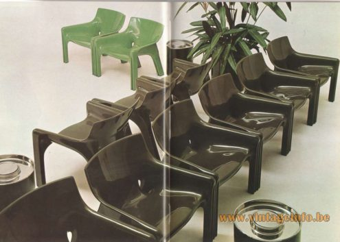 Artemide Catalogue 1976 - Vicario, design Vico Magistretti – Museum of Modern Art New York Armchair in Reglar® , white, dark brown and green.
