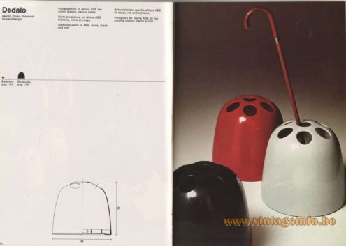 Artemide Catalogue 1976 - Dedalo, design Emma Gismondi Schweinberger Umbrella stand in ABS, white, black orange and red. Penholder: Dedalino, Vase: Dedalotto.