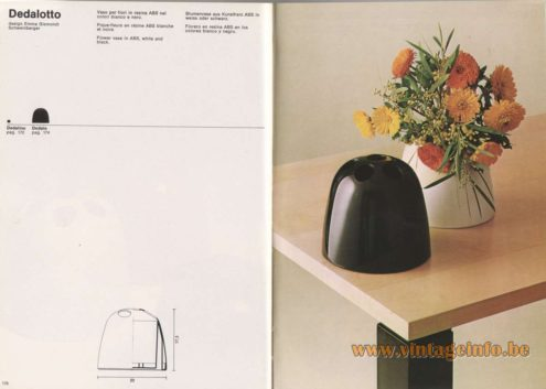Artemide Catalogue 1976 - Dedalotto, design Emma Gismondi Schweinberger Flower vase in ABS, white and black.