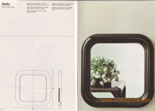 Artemide Catalogue 1976 - Delfo, design Sergio Mazza Mirror with ABS frame in white, black and red.