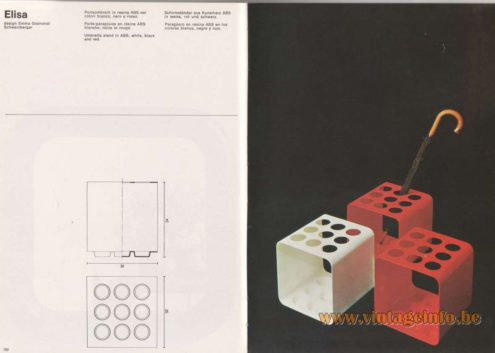 Artemide Catalogue 1976 - Elisa, design Emma Gismondi Schweinberger Umbrella stand in ABS, white, black and red.