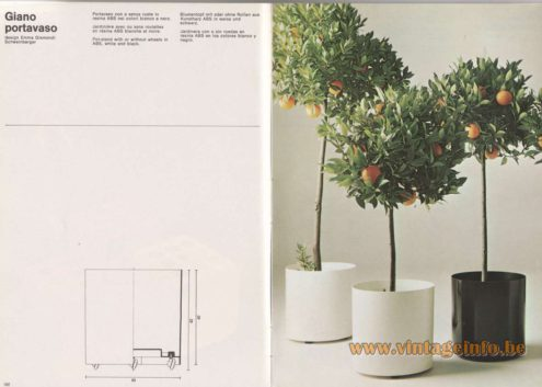 Artemide Catalogue 1976 - Giano portavaso, design Emma Gismondi Schweinberger Pot-stand with or without wheels in ABS, white and black.