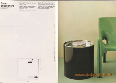 Artemide Catalogue 1976 - Giano posacenere, design Emma Gismondi Schweinberger Ash-stand with or without wheels in ABS, white and black.
