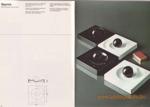 Artemide Catalogue 1976 - Spyros, design Eleonore Peduzzi Riva Melamine table ash-tray in white, orange and black, with black ball.