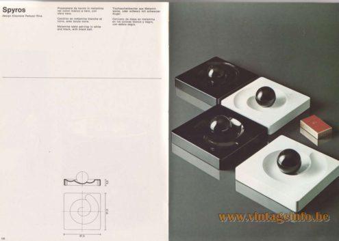 Artemide Catalogue 1976 - Spyros, design Eleonore Peduzzi Riva Melamine table ash-tray in white, orange and black, with black ball.