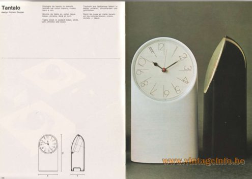 Artemide Catalogue 1976 - Tantalo, design Richard Sapper Table clock in coated metal, white, gilt, chrome and black.