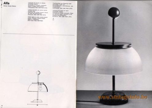 Artemide studioA Catalogue 1976 - Alfa, design Sergio Mazza. Table lamp in matt nickel-plated brass. Pressed crystal shade. Base in rosewood. Bulb type: Max 2×60 Watt.