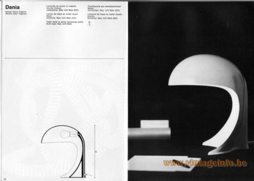 Artemide studioA Catalogue 1976 - Dania, design Dario Tognon (Studio Celli Tognon). Table lamp in white lacquered metal. Bulb type: Max 1×75 Watt.