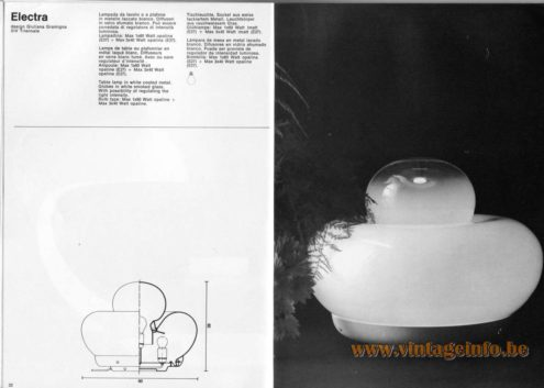 Artemide studioA Catalogue 1976 - Electra, design Giuliana Gramigna. XIV Triennale. Table lamp in white coated metal. Globes in white smoked glass. With possibility of regulating the light intensity. Bulb type: Max 1×60 Watt opaline + Max 3×40 Watt opaline.
