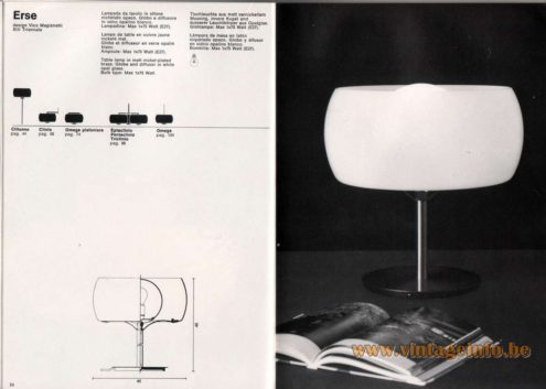 Artemide studioA Catalogue 1976 - Erse, design Vico Magistretti. XIII Triennale. Table lamp in malt nickel-plated brass. Globe and diffusor in white opal glass. Bulb type: Max 1×75 Watt.