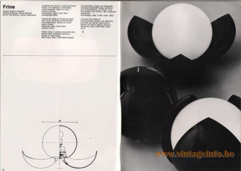 Artemide studioA Catalogue 1976 - Frine, design Studio Tetrarch Adelaide Bonati, Silvio Bonatti, Enrico De Munari, Carla Federspiel Table lamp in green polycarbonate. Electrically operated opening. Globe in opal glass. Bulb type: Max 1 x 100 Watt frosted.