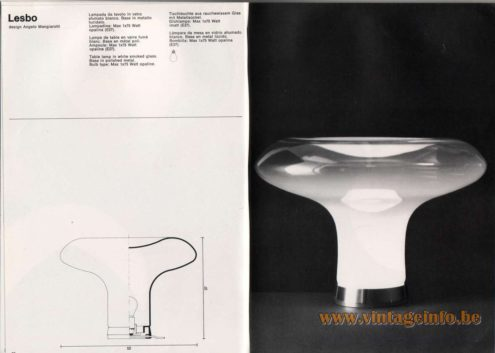 Artemide studioA Catalogue 1976 - Lesbo, design Angelo Mangiarotti Table lamp in white smoked glass. Base in polished metal. Bulb type: Max 1 x 75 Watt opaline.