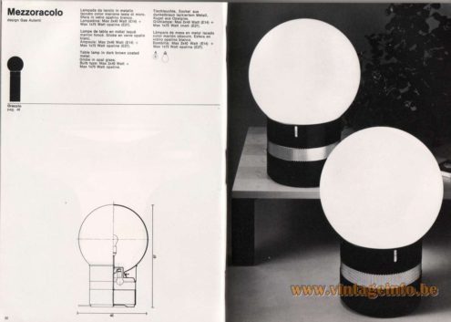 Artemide studioA Catalogue 1976 - Mezzoracolo & Oracolo, design Gae Aulenti Table lamp In dark brown coated metal. Globe In opal glass. Bulb type: Max 2×40 Watt. Max 1 x 75 Watt opaline.