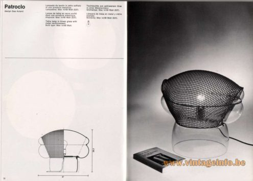 Artemide studioA Catalogue 1976 - Patroclo, design Gae Aulenti Table lamp in blown glass with metal reinforcement. Bulb type: Max 1 x 100 Watt.