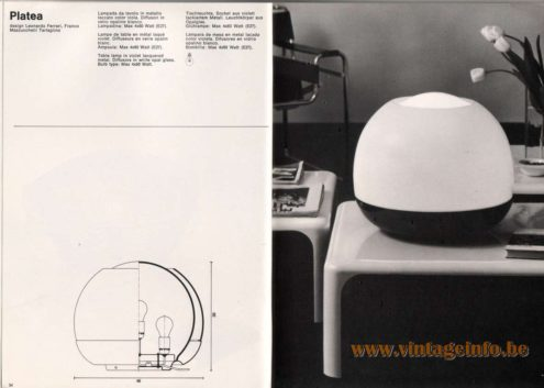 Artemide studioA Catalogue 1976 - Platea, design Leonardo Ferrari, Franco Mazzucchelli Tartaglino Table lamp in violet lacquered metal. Diffusors in white opal glass. Bulb type: Max 4 x 60 Watt.