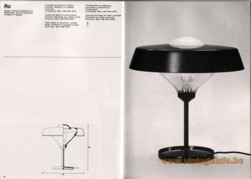 Artemide studioA Catalogue 1976 - Ro, design Lodovico Barbiano di Belgiojoso, Enrico Peressutti, Ernesto N. Rogers Table lamp in chromium plated brass. Diffusors in pressed crystal. Bulb type: Max 1 x 60 Watt.