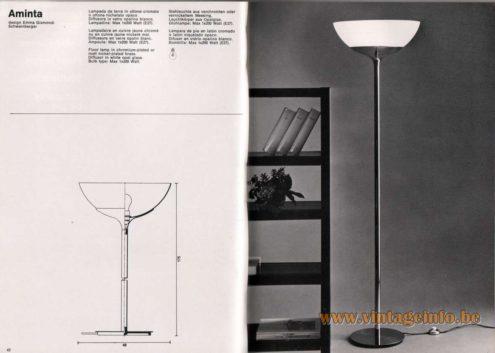 Artemide studioA Catalogue 1976 - Aminta, design Emma Gismondi Schweinberger Floor lamp in chromium-plated or matt nickel-plated brass. Diffusor in white opal glass. Bulb type: Max 1 x 200 Watt.