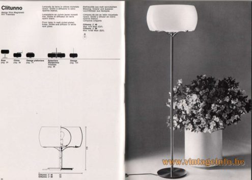 Artemide studioA Catalogue 1976 - Clitunno, design Vico Magistretti XIII Triennale Floor lamp in mat nickel-plated brass. Globe and diffusor In white opal glass. Other models: Erse, Clinio, Omega plafoniera, Eptaclinio, Pentaclinio, Triclinio, Omega.