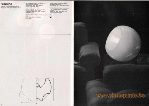 Artemide studioA Catalogue 1976 - Vacuna, design Eleonore Peduzzi Alva – Museum of Modern Art New York Floor or tabla lamp in white smoked qlass. Bulb type: Max 1 x 100 Watt – silver cap.