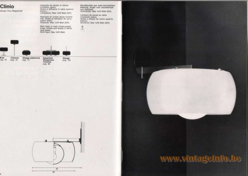Artemide studioA Catalogue 1976 - Clinio, design Vico Magistretti Wall lamp in matt nickel-plated brass. Globe and shade in white opal glass. Bulb type: Max 1 x 75 Watt. Other models: Erse, Clitunno, Omega plafoniera, Eptaclinio, Pentaclinio, Triclinio, Omega.