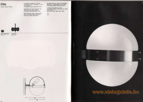 Artemide studioA Catalogue 1976 - Clio, design Sergio Mazza Wall lamp in matt nickel·plated brass. Frosted glass diffusors. Bulb type: Max 2 x 60 Watt. Other models: Clio Plafoniera, Tetraclio.