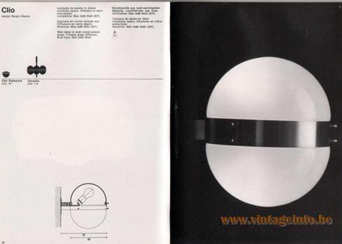 Artemide studioA Catalogue 1976 - Clio, design Sergio Mazza Wall lamp in matt nickel·plated brass. Frosted glass diffusors. Bulb type: Max 2 x 60 Watt. Other models: Clio Plafoniera, Tetraclio.