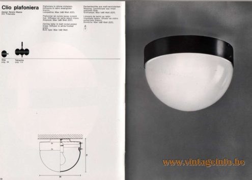 Artemide studioA Catalogue 1976 - Clio plafoniera, design Sergio Mazza – XIII Triennale Ceiling lamp in mat nickel-plated brass. Diffusor in white frosted glass. Bulb type: Max 1 x 60 Watt.