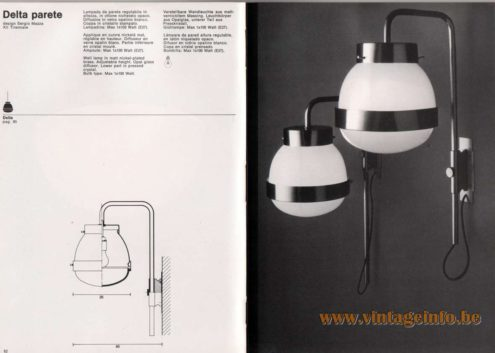 Artemide studioA Catalogue 1976 - Delta parete, design Sergio Mazza – XII Triennale Wall lamp ïn matt nickel-plated brass. Adjustable height. Opal glass diffusor. Lower part in pressed crystal. Bulb type: Max 1 x 100 Watt. Other model: Delta pendant light.