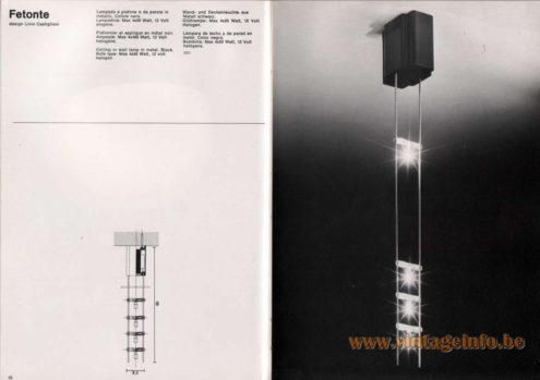 Artemide studioA Catalogue 1976 - Fetonte, design Livio Castiglioni Celling or wall lamp in metal. Black. Bulb type: Max 4 X 50 Watt, 12 volt halogen.