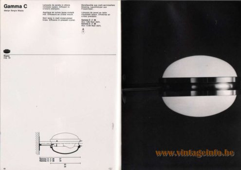 Artemide studioA Catalogue 1976 - Gamma C, design Sergio Mazza Wall lamp In matt nickel-plated brass. Diffusors in pressed crystal.