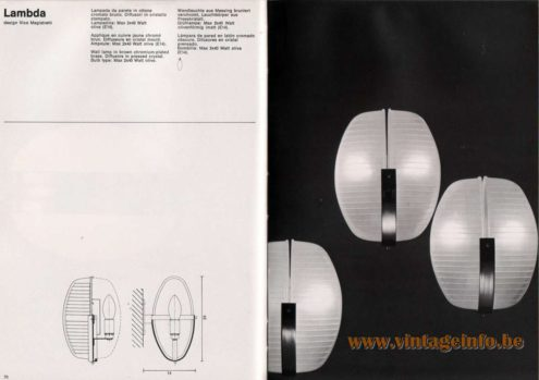 Artemide studioA Catalogue 1976 - Lambda, design Vico Magistretti Wall lamp In brown chromium-plated brass. Diffusors in pressed crystal. Bulb type: Max 2 X 40 Watt olive.