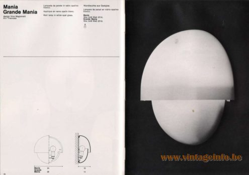 Artemide studioA Catalogue 1976 - Mania, Grande Mania, design Vico Magistretti – XIII Triennale Wall lamp in white opal glass.